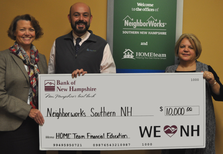 Bank of New Hampshire makes $10,000 contribution in support of  HOMEteam's Homeownership Services and Resources